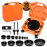 HORUSDY Hole Saw Set, 17 Pcs Hole Saw Kit with 13Pcs Saw Blades 6'(152mm) - 3/4' (19mm), Ideal for Soft Wood, PVC Board and More.
