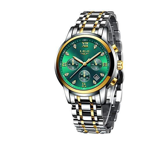 LIGE Reloj para Hombre Elegante Moda Cronógrafo Plata Acero Inoxidable Reloj de Pulsera Deportivo Cuarzo Analógico Impermeable Multifunción Casual Verde Reloj
