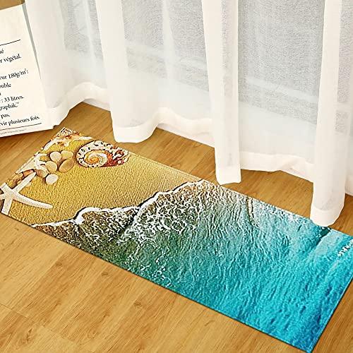 OPLJ Alfombra Antideslizante de Cocina, Alfombra de impresión con Vista al mar en la Playa 3D, decoración del hogar, Dormitorio, Sala de Estar, Alfombra Absorbente para Puerta A13 40x120cm