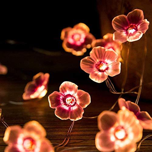 Cadena de Flores de Cerezo, Cadena de Luz al Aire Libre, Flores Guirnalda Luminosa Cadena de Luces para Fiesta, Día Festivo, Boda, Cumpleaños, Ambiente, Decoración del Hogar(10 Pies)