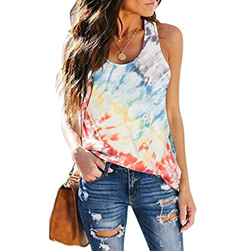 Auifor Damen Krawatte-Dye Tank Tops, Sommer lose Weste Tops, Mode Casual T-Shirt Tops Bluse