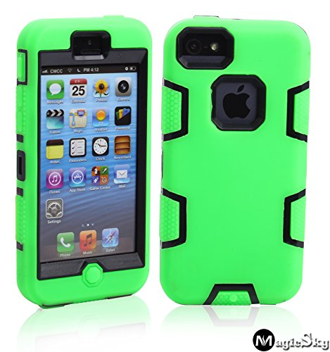 protect iphone 5c cases 5C Case, iPhone 5C Case Cover, Magicsky Full Body Hybrid Impact Shockproof Defender Case Cover for Apple iPhone 5C, 1 Pack(Black/Green)