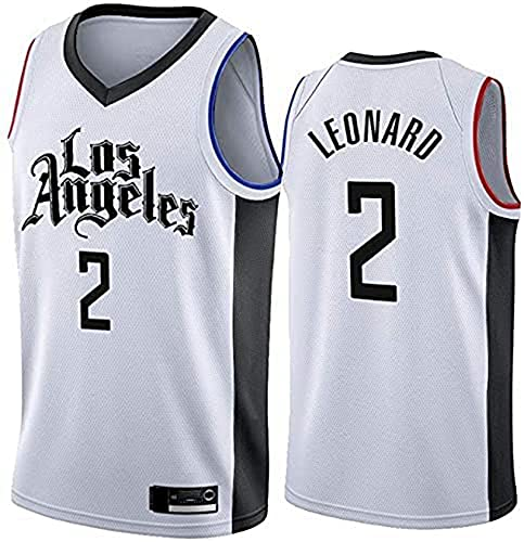 PTELEA Hombres Baloncesto Clipper Transpirable Ropa Deportiva Transpirable Transpiración Cómodo Leonard Jersey #2 Blanco