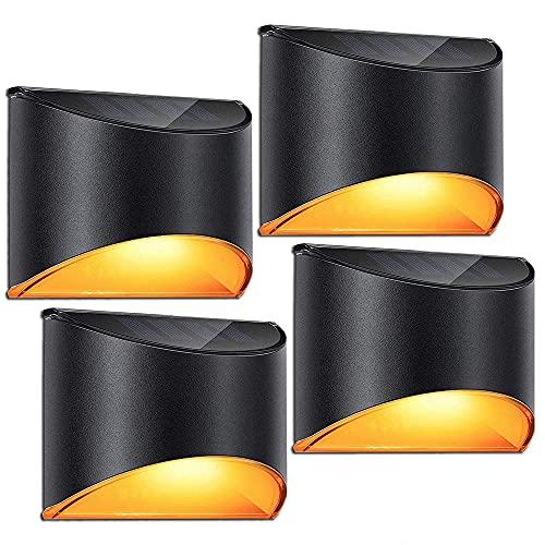 LeiDrail Solarleuchten für Außen Solar LED Wandleuchte Aussen Warmweiß Solarlicht Garten Solarleuchte Wand SunPower kabellos wasserdichte Zaun Beleuchtung für Veranda Pfad Garage 4 Stück