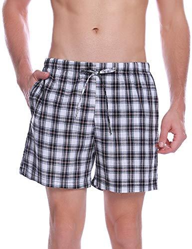 Hawiton Pantalon Pijama Corto Hombre Verano de 100% Algodon Pantalones Cortos Elástico Pantalones de Dormir a Cuadros de Salón