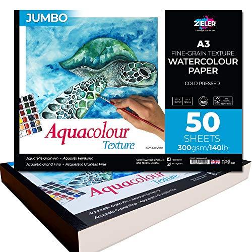 Zieler Jumbo A3 Aquarellpapier, fein genarbt, strukturiert, von Zieler. 50 Blatt, 300 g / qm, quer Ideal zum Einweichen und Abdecken. Hergestellt in Großbritannien. Enthält ein Starter-Hinweisblatt