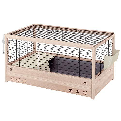 Ferplast 57089517 Holzkäfig für Meerschweinchen und Kaninchen, 100 x 62,5 x 51 cm, schwarz (L)