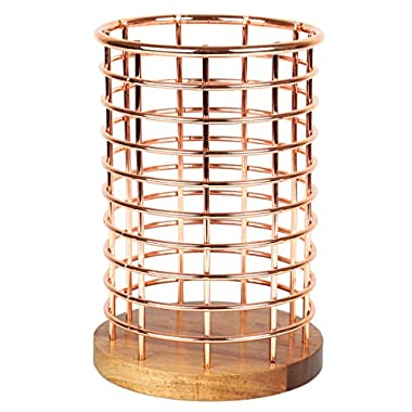 Creative Home Deluxe Acacia Wood and Wire Utensil Tool Holder with Copper Finish, NA
