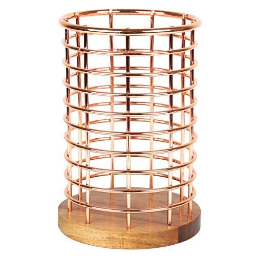 Creative Home Deluxe Acacia Wood and Iron Wire Cooking Utensil Holder Tool Crock for Kitchen Countertop Organizer, 5-1/8' Diam. x 7-1/2' H, Copper Finish