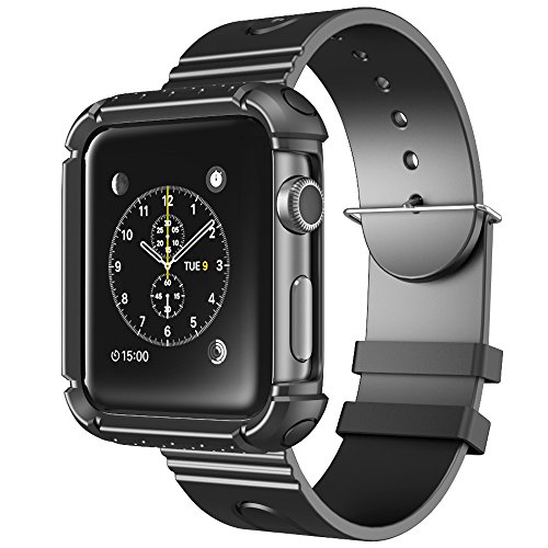 i-Blason Apple Watch Case, Armband Skin Rubber Protective Case with Strap for Apple Watch/Sports Watch/2015Edition (Black, 42mm)