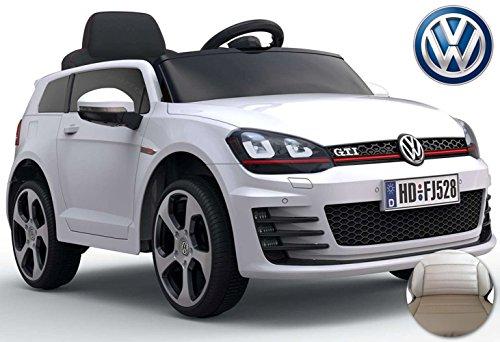 RC Auto kaufen Kinderauto Bild: ES-TOYS Kinderfahrzeug - Elektro Auto VW Golf 7 GTI - lizenziert - 12V7AH Akku,2 Motoren- 2,4Ghz Fernsteuerung, MP3-Weiss*