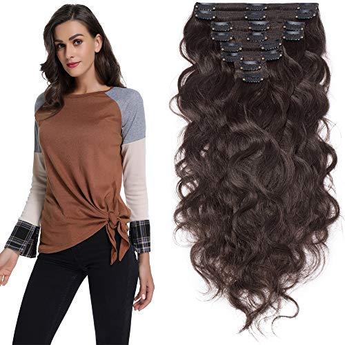 Silk-co Clip In Extensions Echthaar Gewellt - #2 Dunkelbraun - 8 Tressen 18 Clips Dopplet Dicke - 150g Haarverlängerung Remy Echthaar Extensions Clip In 50cm