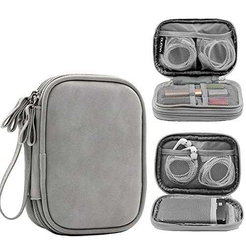 Honeystore Double Layer Gadget Organizer Universal Travel Gear Electronics Accessories Bag Electronics Carrying Case for USB Cable, Flash Drive, Hard Disk, Earphone, SD Card, Power Bank and More Gray