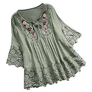 Aniywn Women Round Neck Lace Up Lace Patchwork Flare Pullover Top Casual Plus Size 3/4 Sleeve Floral Printed T-Shirt Green