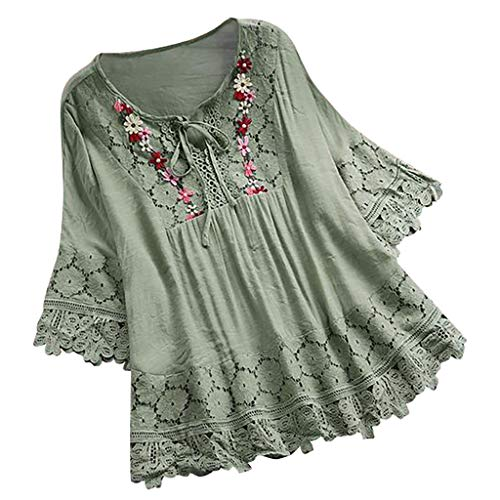 Auifor vrouwen Plus maten borduurwerk casual lange mouwen los tops tuniek blouse shirt