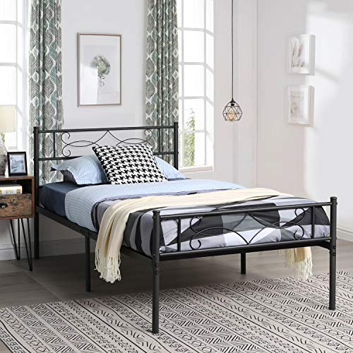 VECELO Black Twin Metal Bed Frame with Headboard & Footboard Premium Steel Slat Support No Box Spring Needed Noise-Free Anti-Slip Easy Assembly