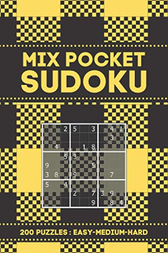 Mix Pocket Sudoku 200 Puzzles (Easy-Medium-Hard): 200 sudoku puzzles in a pocket-sized book (Mini Travel Size) For Adults - Easy To Hard Level