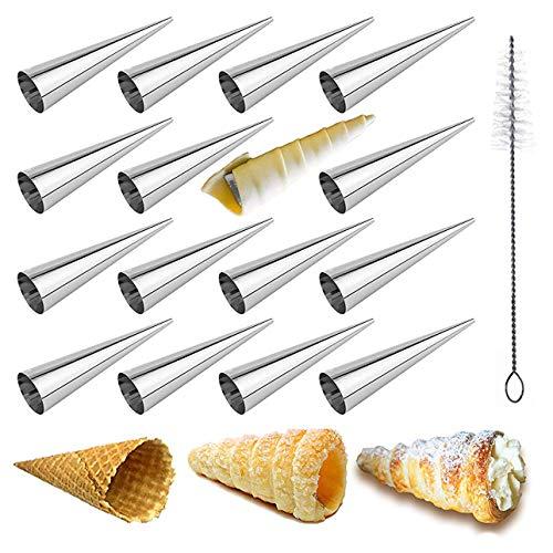16 Pièces Cônes Droit Moules Crème à Pâtisserie en Acier Inoxydable Set - Grande Taille Cornets à la Crème Conique Spirale pour Cuisine Cannoli, Croissant, Feuilletés, Gâteau, Crème Glacé