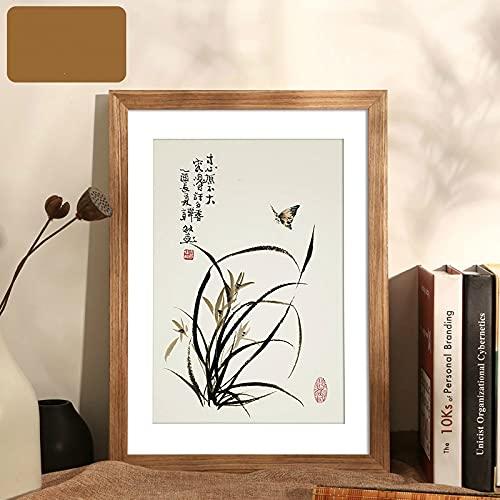 LZYMLG Marco de fotos A3 de madera para póster rústico, decoración de pared, plexiglás, color marrón