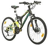 Bikesport Parallax Bicicleta De montaña Doble suspensión 24 Ruedas, Shimano 18 velocidades (Black...