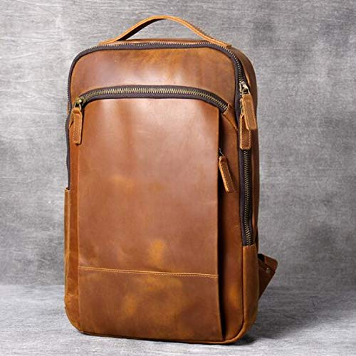 REBKW Vintage crazy horse leather shoulder bag, handmade genuine leather backpack large men's leather computer travel backpack(brown)