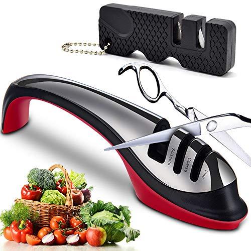 Manual Knife Sharpener, Best 3 Stage Scissors Sharpeners Kitchen Accessory Tools for Sharpening Chefs Knives, Ergonomic Design Pocket Knife Sharpener, Ceramic Rod, Tungsten Steel, Non-Slip Base (Red)
