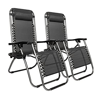 Bonnlo Infinity Zero Gravity Chair, Outdoor Lounge Patio Chairs with Pillow and Utility Tray Adjustable Folding Recliner for Deck,Patio,Beach,Yard Pack 2 (Black)