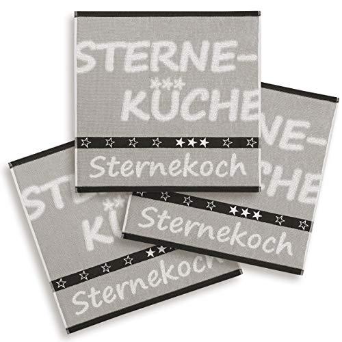 ziczac-affaires KRACHT, 3er Set Geschirrtuch, Handtuch, Frottier, Webmotiv Sternekoch, Farbe warmgrau, Edition, Format 50x50 cm in 100% Baumwolle