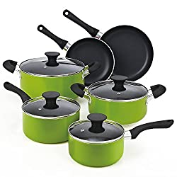 Cook N Home 10-Piece Nonstick Stay Cool Handle Cookware Set, Green review