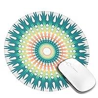 マウスパッド 円形 かわいい オフィス最適 青 グラデーション 曼荼羅 インド風 曼陀羅ゲーミング エレコム 防水性 耐久性 滑り止め 多機能 おしゃれ ズレない 直径20cm