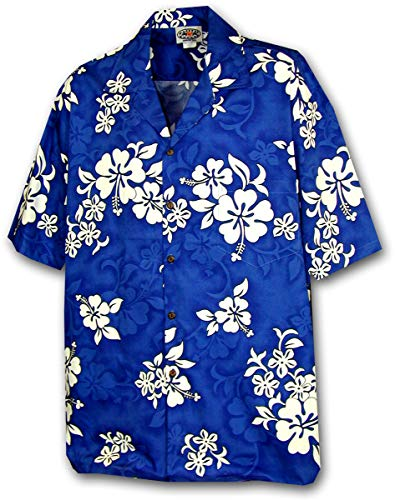 Pacific Legend Tropical Shirts White Hibiscus in Blue XL 410-3156