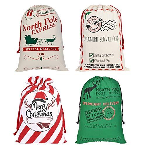 Faylapa 4 Pcs Large Santa Sacks,4 Patterns Canvas Christmas Stocking with Drawstrings,Reusable Designs,19.7 X 27.5 Inch Xmas Present Bag