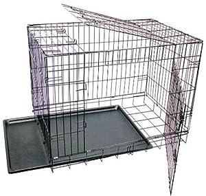 Cage pour chiots chien en métal, 2portes remorque pliable noir