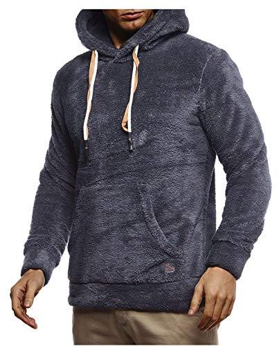 Leif Nelson Herren Hoodie Teddy Fleece Pullover mit Kapuze Kapuzenpullover für Männer Pulli Longsleeve Sweatshirt LN20105 Größe L Anthrazit