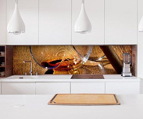 Aufkleber Küchenrückwand Zigarre Havana Whiskey Cognac Folie selbstklebend Dekofolie Fliesen Möbelfolie Spritzschutz 22A1226, Höhe x Länge:80cm x 150cm