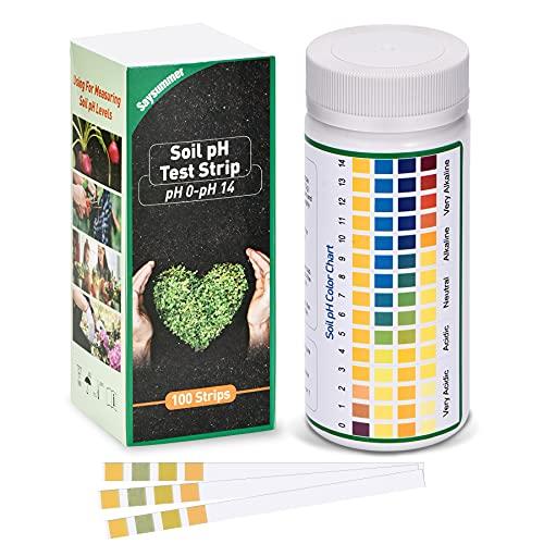 SaySummer Soil pH Test Strips 100 PCS, 0-14 Full Range Soil...