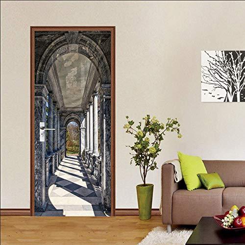 XCQHZYQ 3D Türaufkleber 77X200cm Türposter Tapete Bogengang Wandbild Für Wohnzimmer Schlafzimmer Wohnkultur Poster PVC Selbstklebende wasserdichte Tür Aufkleber