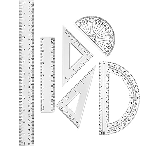 6 Piece Plastic Clear Ruler Math Set Includes Protractor, Triangle Rulers,12 Inch 6 Inch Straight Ruler Geometry Math Ruler Transparent Ruler Measuring Tool for School Office Home Supplies