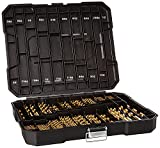 230 Pieces Titanium Twist Drill Bit Set, Anti-Walking 135° Tip High Speed Steel, Size from 3/64' up to 1/2', Ideal for Wood/Steel/Aluminum/Zinc Alloy, with Hard Storage