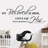 yiyitop Versículo bíblico Vinilo Pegatinas de Pared Mi Amado es mío Canción de Salomón 2:16 Palabras de la Pared de Vinilo Calcomanía de Vinilo Letras religiosas 105x42cm