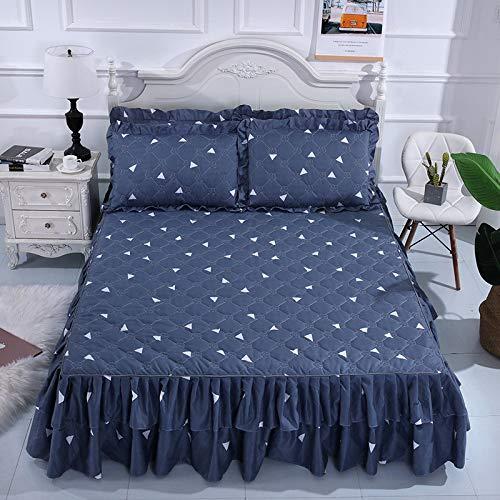 CQZM Drucken Gesteppter Bettvolant Doppelschicht Mit Rüschen Bettrock Tagesdecke Elastische Single Double Bed Skirt Anti-Allergie Für Schlafzimmer Wohnheim EtcF-150x200cm(59x79inch)