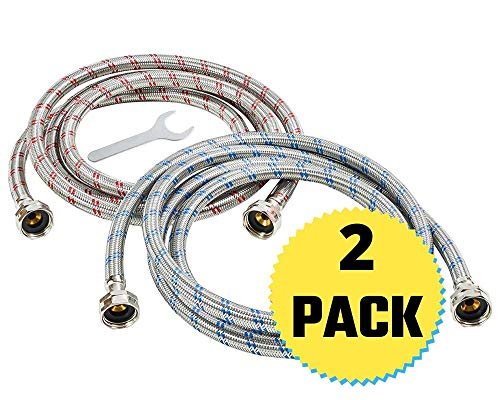 Washing Machine Hoses (10FT) - Universal Fit to All Wash Machines - (2 Pack) Braided Stainless Steel Water Supply Line - Burst Proof - Includes Wrench for Easy Installation