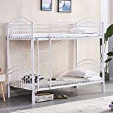 Redd Royal 2 in 1 Metal Bunk Bed, Convertible 2 x 3 FT Single Bedstead with Strong Metal Slats & Movable Ladder and Safety Guardrail, Twin Over Twin Bed Frame for Kids and Adult (White)