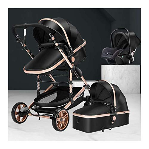 JIAX Cochecito De Bebé De Lujo 3 En 1 con Capazo Separado Cochecito Plegable 360 Grados De Rotación Carro De Bebé Alto Cochecito De Paisaje para Recién Nacidos (Color : Black)