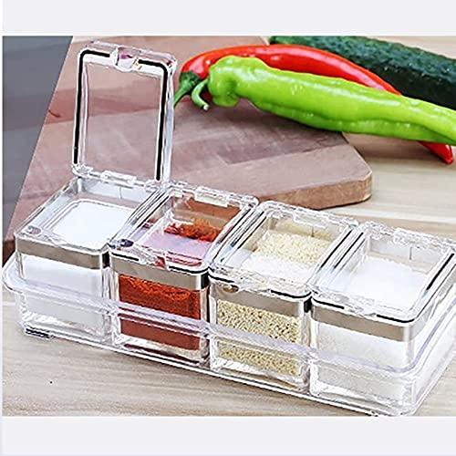 Casa Cocina Encimera Caja de Especias Condimento Tarro Compartimento Dispensador de condimentos Fácil de Limpiar Cuchara extraíble adjunta