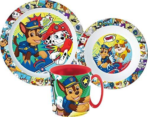 Kinder-Geschirr Set mit Teller, Müslischale und Tasse   Jungen und Mädchen Geschirrset (Paw Patrol)