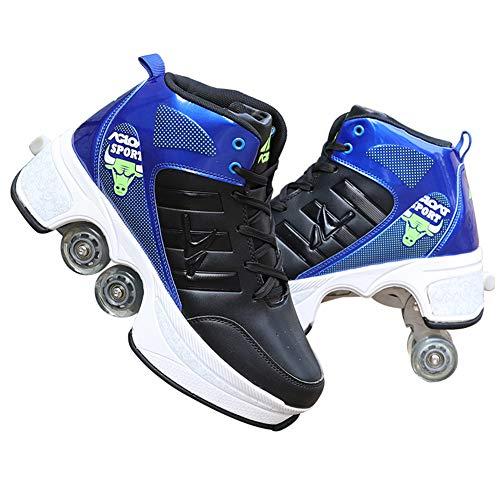 TZTED Unisex Skateboard Schuhe Inline-Skate, 2-In-1-Mehrzweckschuhe, Outdoor-Sportarten Für Erwachsene,Blau,EU41/UK8