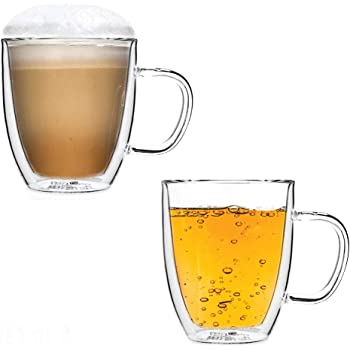 15oz Double Wall Glass Tea Cup with Handle Sets of 2 Large