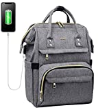 Laptop Backpack Women Teacher Backpack 15.6 Inch Womens Work Bag Purse Water-Resistant Business Travel Backpack with USB Charging Port, Luggage Strap, Anti-Theif Pocket, Tablet Pocket (Grey)