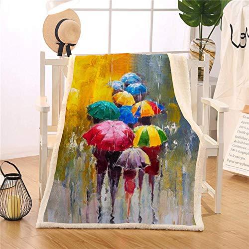 XGTZ Mantas de Paraguas de Colores para Camas Manta Personalizada de día lluvioso Impresión al óleo 150x200cm Cobertor Dropshipping Ropa de Cama de Felpa